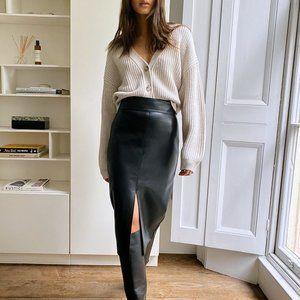 BABATON Jax Vegan Leather Skirt with Slits -Size 0